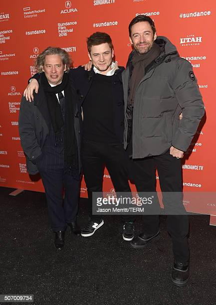 Director Dexter Fletcher and actors Taron Egerton and Hugh Jackman attend the Community/Townie Tuesday at Library Center Theater on January 26 2016...