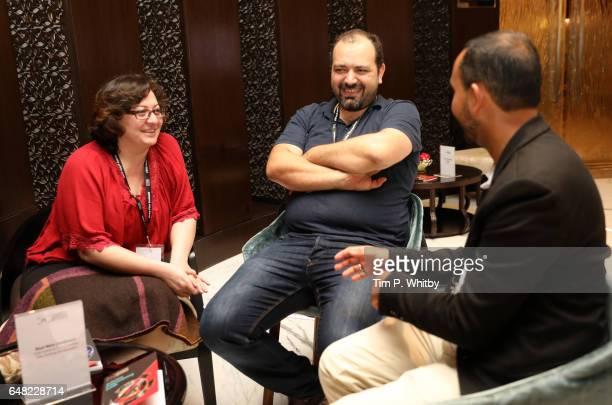 Director Diana El Jeiroudi and producer Orwa Nyrabia meet with Raul Nino Zambrano International Documentary Film Festival Amsterdam during a oneonone...