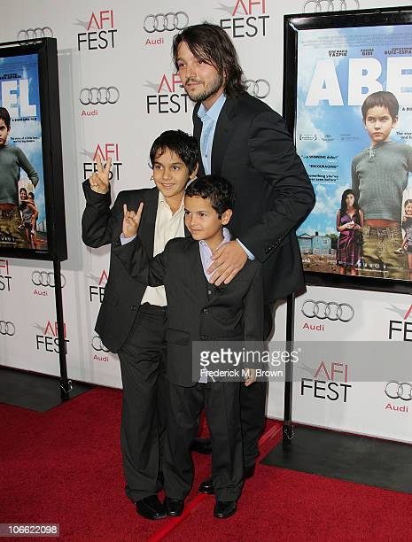 Director Diego Luna and actors Christopher RuizEsparza and Gerardo RuizEsparza arrive at Abel screening during AFI FEST 2010 presented by Audi at...