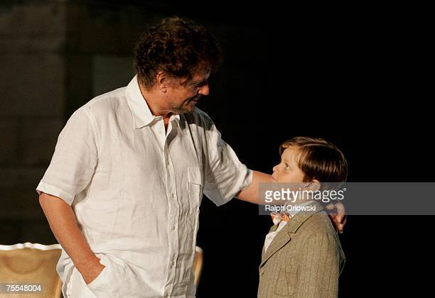 Director Dieter Wedel and his son Benjamin Voland attend the rehearsal of Die letzten Tage von Burgund at the Nibelungen Festival July 18 2007 in...