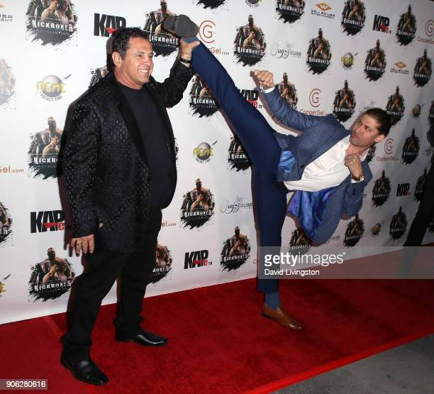 Director Dimitri Logothetis and actor Alain Moussi attend the premiere of Well Go USA Entertainment's 'Kickboxer Retaliation' at ArcLight Cinemas on...