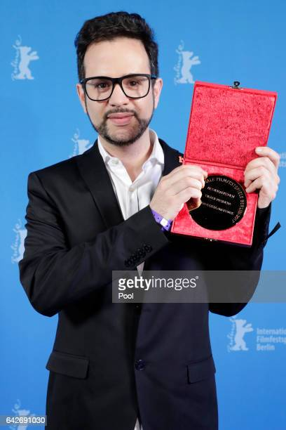 Director Diogo Costa Amarante winner of the Golden Bear for Best Short Film poses backstage after the closing ceremony of the 67th Berlinale...