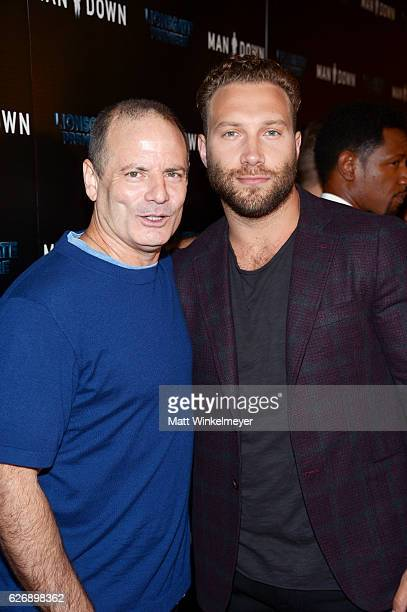 Director Dito Montiel and actor Jai Courtney attend the premiere of Lionsgate Premiere's Man Down at ArcLight Hollywood on November 30 2016 in...
