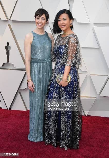 Director Domee Shi and producer Becky NeimanCobb arrives for the 91st Annual Academy Awards at the Dolby Theatre in Hollywood California on February...