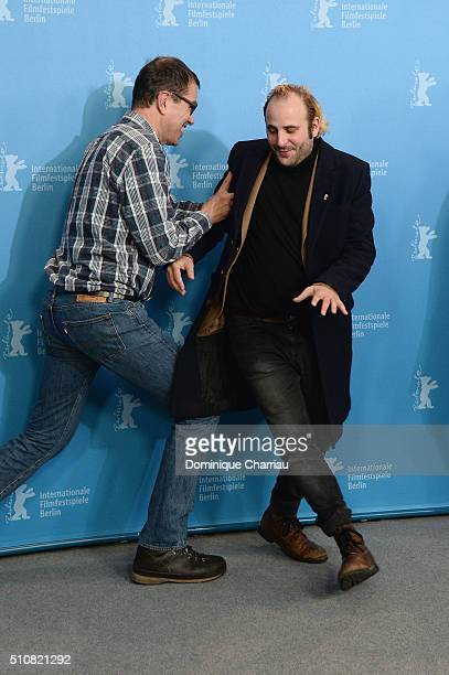 Director Dominik Moll and actor Vincent Macaigne attend the 'News from Planet Mars' photo call during the 66th Berlinale International Film Festival...