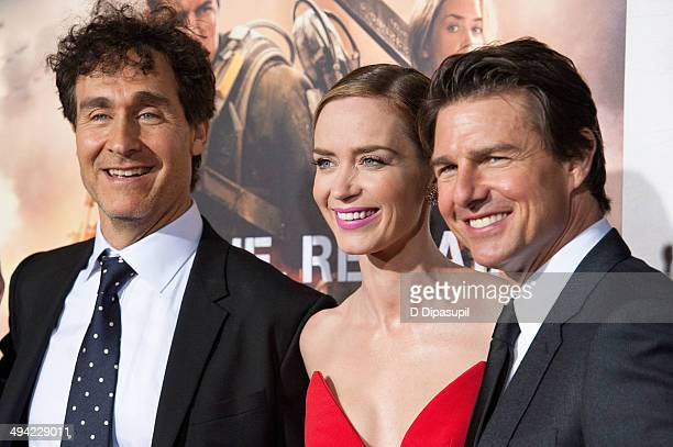Director Doug Liman Emily Blunt and Tom Cruise attend the 'Edge Of Tomorrow' red carpet repeat fan premiere tour at AMC Loews Lincoln Square on May...