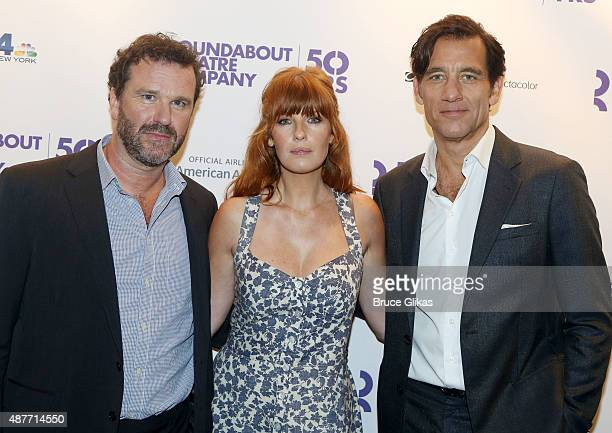 Director Douglas Hodge Kelly Reilly and Clive Owen pose at the Roundabout Theater Company's 50th Anniversary Season Party at The American Airlines...