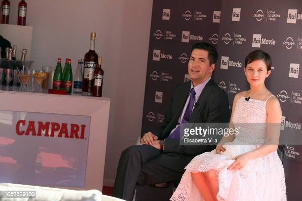 Director Drew Goddard and actress Cailee Spaeny are seen at the Campari Lounge during the 13th Rome Film Fest at Auditorium Parco Della Musica on...