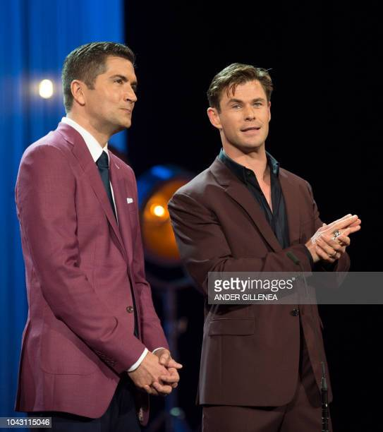 US director Drew Goddard and Australian actor Chris Hemsworth attend the screening of the film 'Bad times at the El Royale' during the 66th San...
