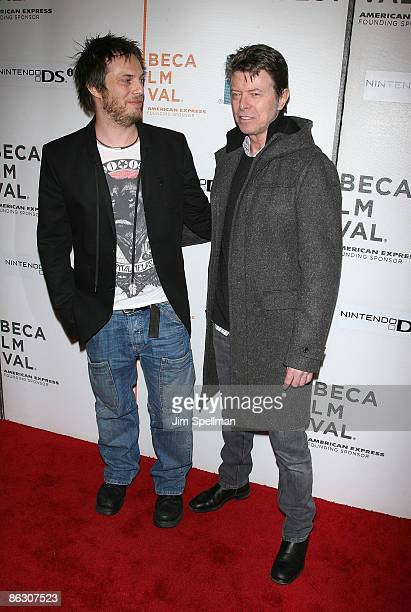 """Director Duncan Jones and Musician David Bowie attend the premiere of """"Moon"""" during the 8th Annual Tribeca Film Festival at BMCC Tribeca Performing..."""