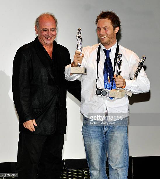 Director Duncan Jones besides Samuel Hadida receives the Best Motion Picture award for the film 'Moon' at the 42nd Sitges Film Festival on October 11...