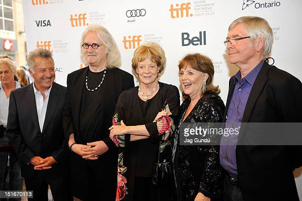 Director Dustin Hoffman actor Billy Connolly actresses Maggie Smith Pauline Collins and actor Tom Courtenay arrive at the Quartet Premiere at the...