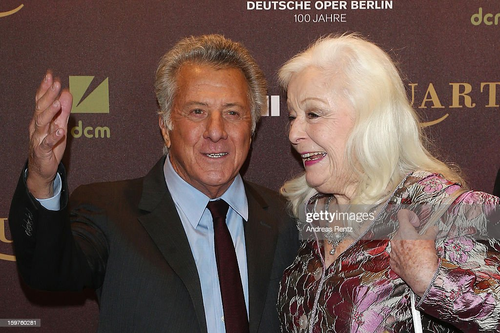 Director Dustin Hoffman and Gwyneth Jones attend the premiere of 'Quartet' at Deutsche Oper on January 20, 2013 in Berlin, Germany.