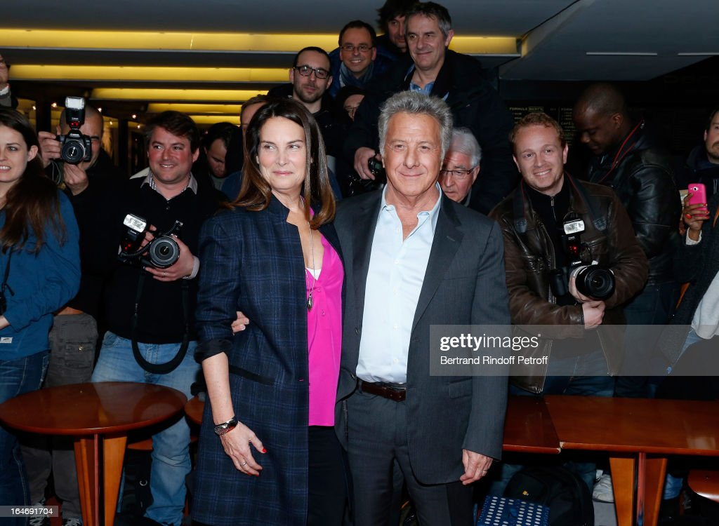 Director Dustin Hoffman (R) and his wife Lisa Hoffman attend 'Quartet' movie premiere, held at UGC Cine Cite les Halles on March 26, 2013 in Paris, France.
