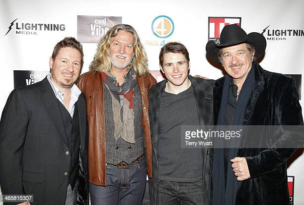 Director Dustin Rikert actor William Shockley Eric Brooksand Kix Brooks attend the 'Ambush At Dark Canyon' premiere at the Country Music Hall of Fame...
