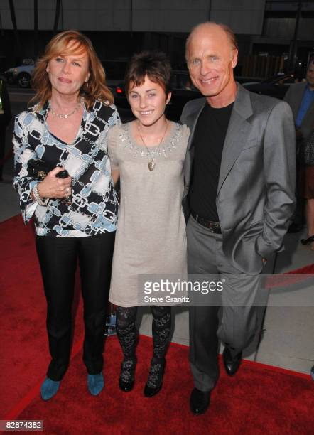 Director Ed Harris and daughter Lily and wife Amy Madigan arrives at the Los Angeles Special Screening For Appaloosa at The Academy Theatre on...