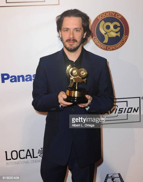 Director Edgar Wright accepts for Roberto de Angelis of 'Baby Driver' at the Society of Camera Operators Lifetime Achievement Awards held at Loews...