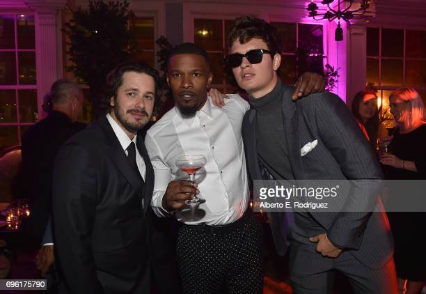 Director Edgar Wright actor Jamie Foxx and actor Ansel Elgort attend the after party for the premiere of Sony Pictures' 'Baby Driver' on June 14 2017...