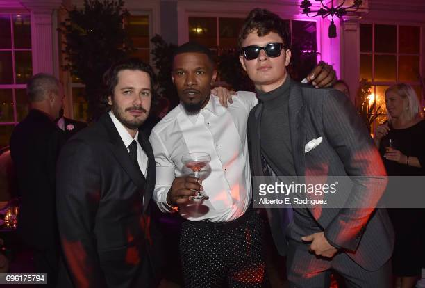 Director Edgar Wright actor Jamie Foxx and actor Ansel Elgort attend the after party for the premiere of Sony Pictures' Baby Driver on June 14 2017...