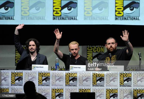 Director Edgar Wright actor Simon Pegg and actor Nick Frost speak onstage at The World's End panel during ComicCon International 2013 at San Diego...