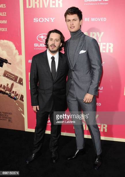 Director Edgar Wright and actor Ansel Elgort attend the premiere of 'Baby Driver' at Ace Hotel on June 14 2017 in Los Angeles California