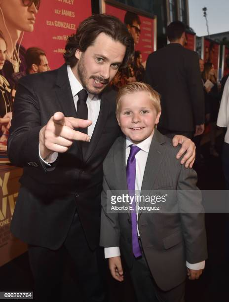 Director Edgar Wright and actor Brogan Hall attends the premiere of Sony Pictures' 'Baby Driver' at Ace Hotel on June 14 2017 in Los Angeles...