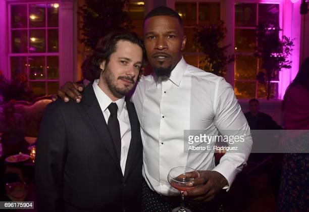 Director Edgar Wright and actor Jamie Foxx attend the after party for the premiere of Sony Pictures' 'Baby Driver' on June 14 2017 in Los Angeles...