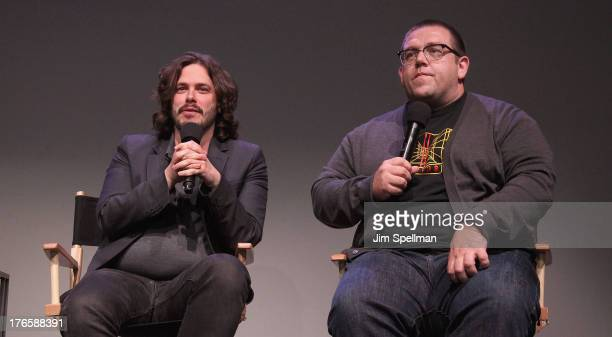 Director Edgar Wright and actor Nick Frost attend Meet The Filmmakers 'The World's End' at Apple Store Soho on August 15 2013 in New York City