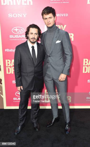 Director Edgar Wright and Ansel Elgort arrive at the Premiere of Sony Pictures' Baby Driver at Ace Hotel on June 14 2017 in Los Angeles California