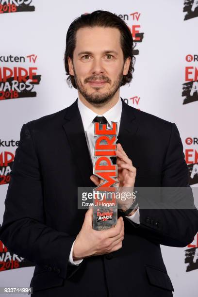 Director Edgar Wright winner of the EMPIRE Visionary award for 'Baby Driver' poses in the winners room at the Rakuten TV EMPIRE Awards 2018 at The...