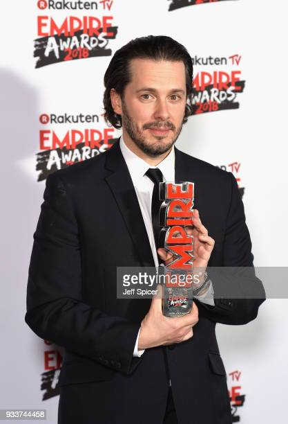 Director Edgar Wright winner of the EMPIRE Visionary award poses in the winners room at the Rakuten TV EMPIRE Awards 2018 at The Roundhouse on March...