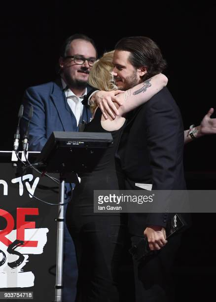 Director Edgar Wright winner of the EMPIRE Visionary award receives a hug from EditorinChief Terri White on stage during the Rakuten TV EMPIRE Awards...