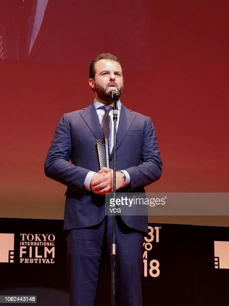 Director Edoardo De Angelis of Italy attends the closing ceremony of the 31st Tokyo International Film Festival on November 2 2018 in Tokyo Japan