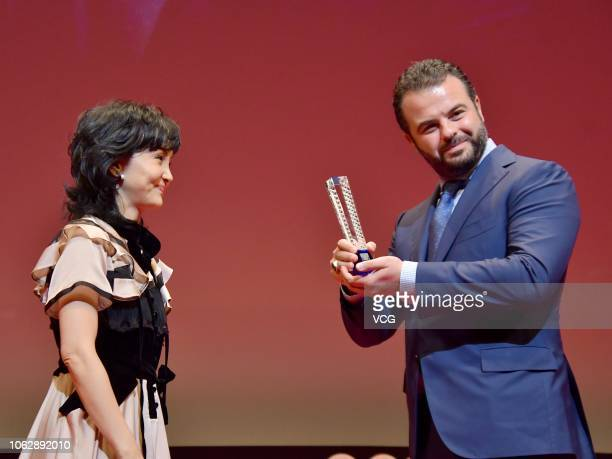 Director Edoardo De Angelis of Italy poses with trophy during the closing ceremony of the 31st Tokyo International Film Festival on November 2 2018...