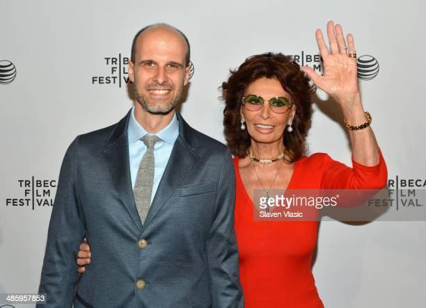 Director Edoardo Ponti and actress Sophia Loren of Human Voice attend the Shorts Program Soul Survivors during the 2014 Tribeca Film Festival at AMC...