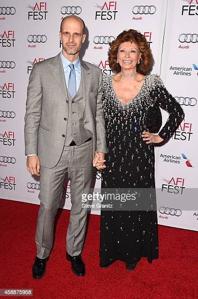 Director Edoardo Ponti and honoree Sophia Loren attend the special tribute to Sophia Loren during the AFI FEST 2014 presented by Audi at Dolby...
