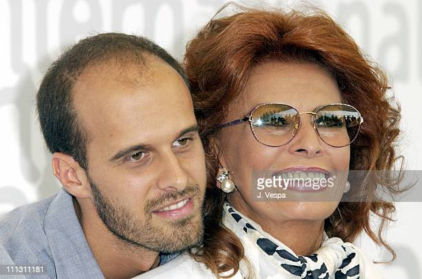 Director Edoardo Ponti and Sophia Loren during 2002 Venice Film Festival Sophia Loren at Between Strangers Photocall at Casino in Venice Lido Italy