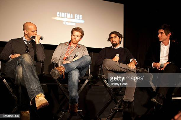 Director Edoardo Ponti Cinematagraphers Alex Buonu Andre Lascaris and Peter Simonite attend the Canon Workshop in Park City on January 21 2013 in...