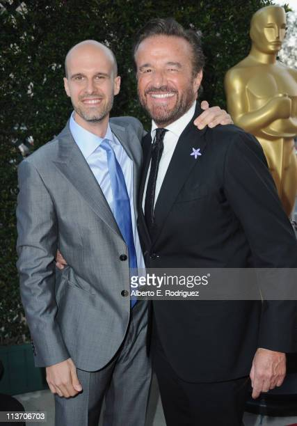 Director Eduardo Ponti and actor Christian De Sica arrive to The Academy of Motion Picture Arts and Sciences' tribute to Sophia Loren on May 4 2011...