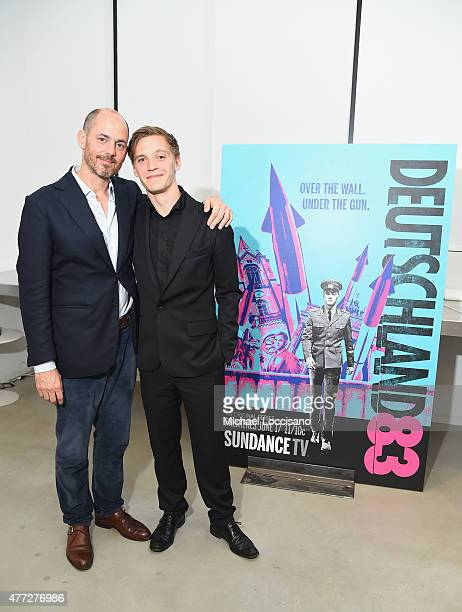 Director Edward Berger and actor Jonas Nay attend the NY premiere of SundanceTV's Deutschland 83 at the GoetheInstitut New York on June 15 2015 in...