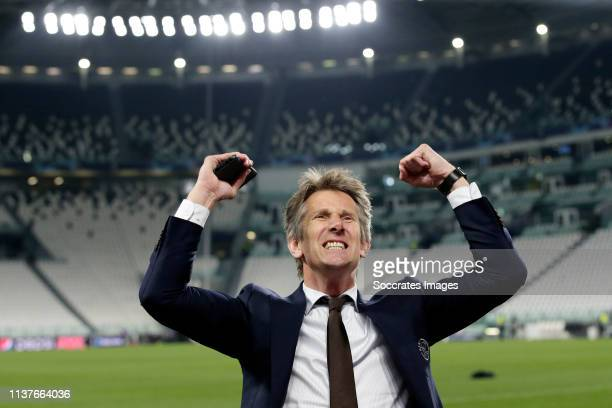 director Edwin van der Sar of Ajax celebrates the victory during the UEFA Champions League match between Juventus v Ajax at the Allianz Stadium on...