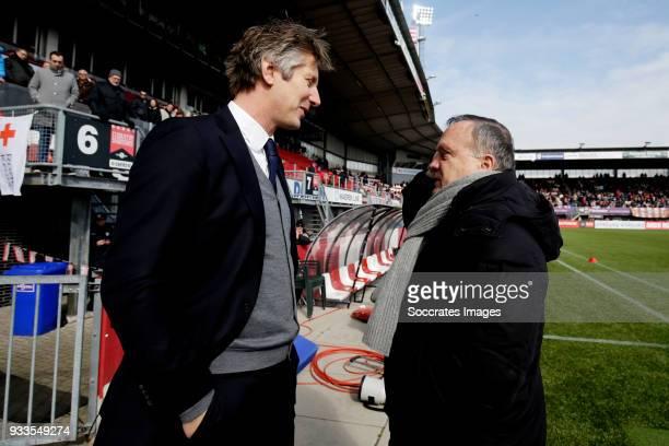 director Edwin van der Sar of Ajax coach Dick Advocaat of Sparta Rotterdam during the Dutch Eredivisie match between Sparta v Ajax at the Sparta...