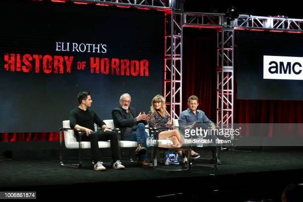 Director Eli Roth Actor Robert Englund Director Catherine Hardwicke and Actor Alex Winter of 'Eli Roth's History of Horror' speak onstage during the...