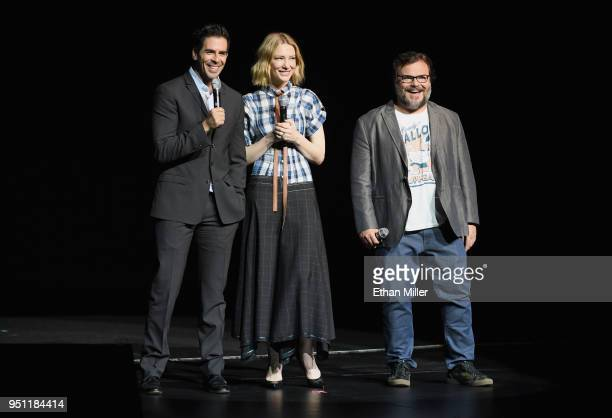 Director Eli Roth actors Cate Blanchett and Jack Black speak onstage during CinemaCon 2018 Universal Pictures Invites You to a Special Presentation...