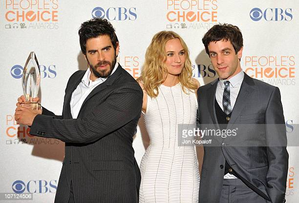 Director Eli Roth, actress Diane Kruger, and actor B.J. Novak pose at the People's Choice Awards 2010 held at the Nokia Theatre L.A. Live on January...