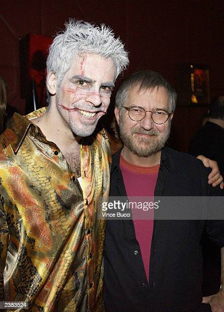 Director Eli Roth and actor Tobe Hooper attend the afterparty for the premiere of the film Cabin Fever on August 8 2003 at Star Shoes in Hollywood...