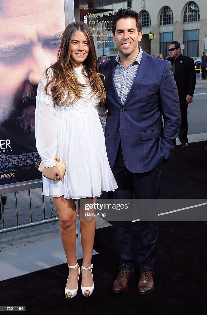 Director Eli Roth (R) and Lorenza Izzo attend the premiere of 'The Water Diviner' at TCL Chinese Theatre IMAX on April 16, 2015 in Hollywood, California.