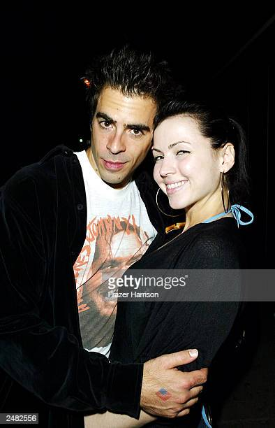 Director Eli Roth and partner Jessica Chandler arrive for the opening of 'Oasis' restaurant on September 10 2003 in Los Angeles California