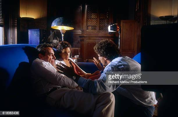 Director Elie Chouraqui directing a scene from his 1987 French movie Man on Fire with actor Scott Glenn and actress Brooke Adams The film also stars...
