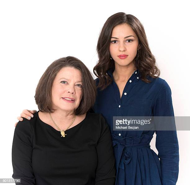 Director Elissa Leonard and actress Annet Mahendru pose for portrait at The Starving Artists Project on December 09 2015 in Los Angeles California